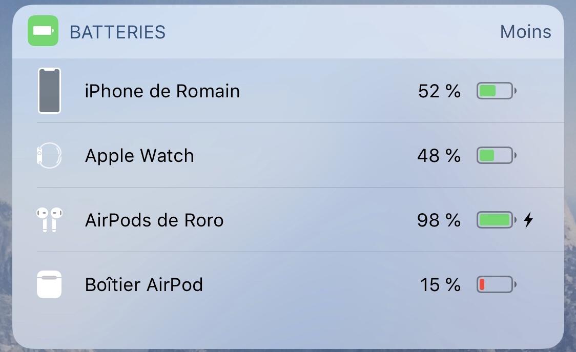 Le widget des Airpods d'Apple