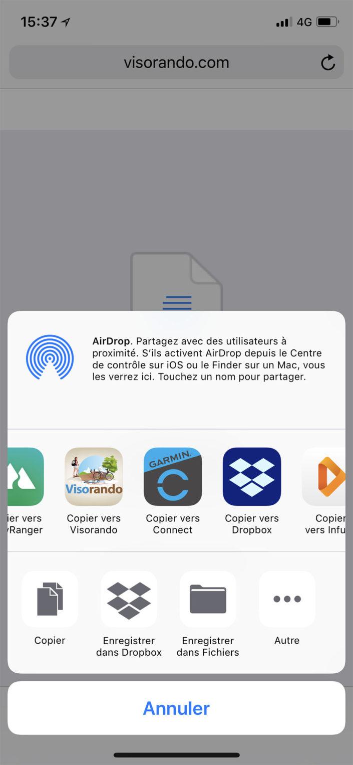 Ouvrir le GPX avec l'application Garmin Connect