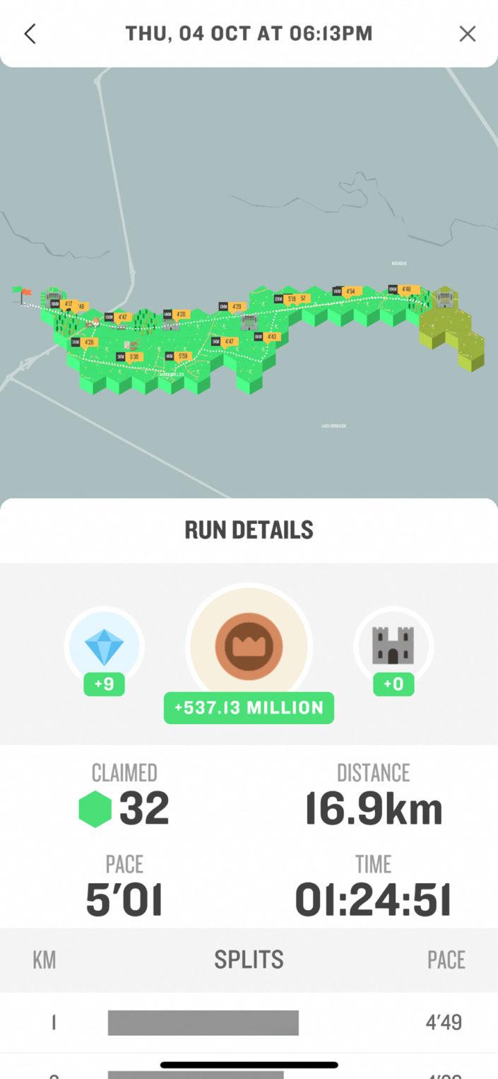 L'écran de détail d'une course