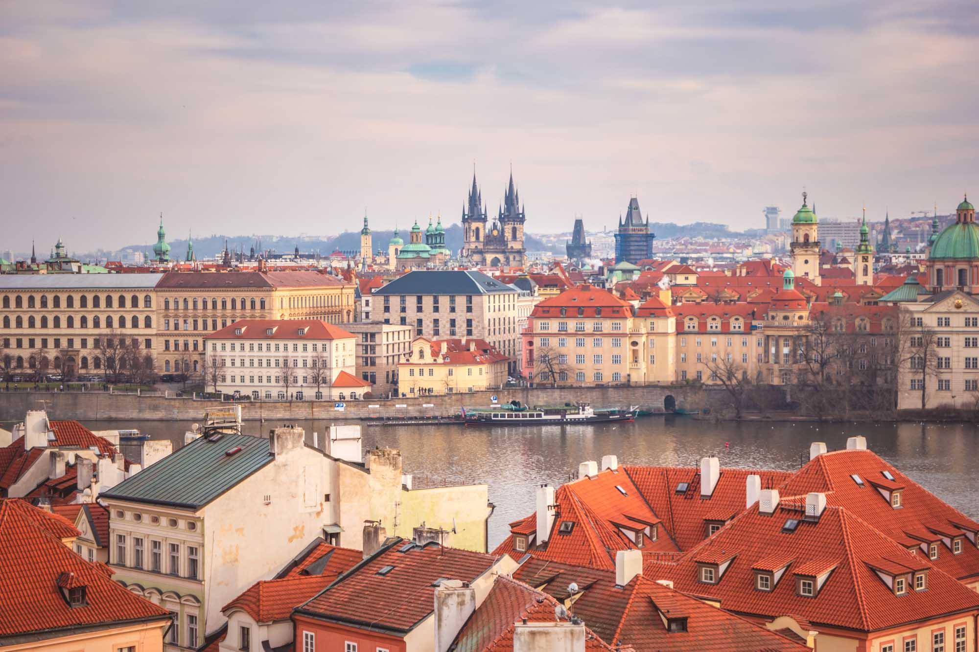 Vue sur les hauteurs de Prague
